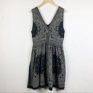 Blue Plate V-Neck Bandana Print Black Dress